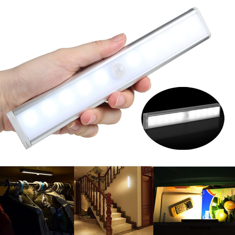Motion Sensing Closet Lights, DIY Stick-on Anywhere Portable 10-LED Wireless Cabinet Night/ Stairs/ Step Light Bar with Magnetic Strip, Puck Lights White, 2Pack