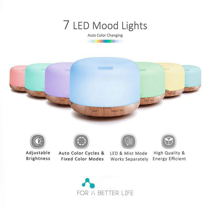 500ml Premium, Essential Oil Diffuser, 5 In 1 Ultrasonic Aromatherapy Fragrant Oil Vaporizer Humidifier, Purifies The Air, Timer and Auto-Off Safety Switch, 7 LED Light Colors