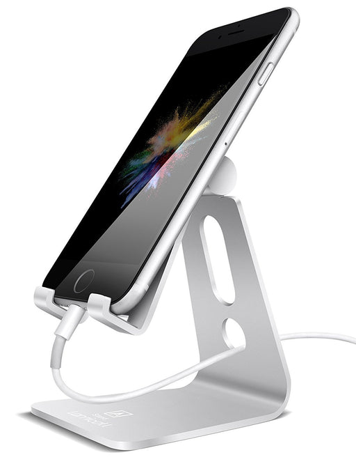 Cell Phone Stand, Lamicall iPhone Stand : [UPDATE VERSION] Cradle, Dock, Holder For Switch, iPhone 8 X 7 6 6s Plus 5 5s 5c charging, Accessories Desk, all Android Smartphone - Silver