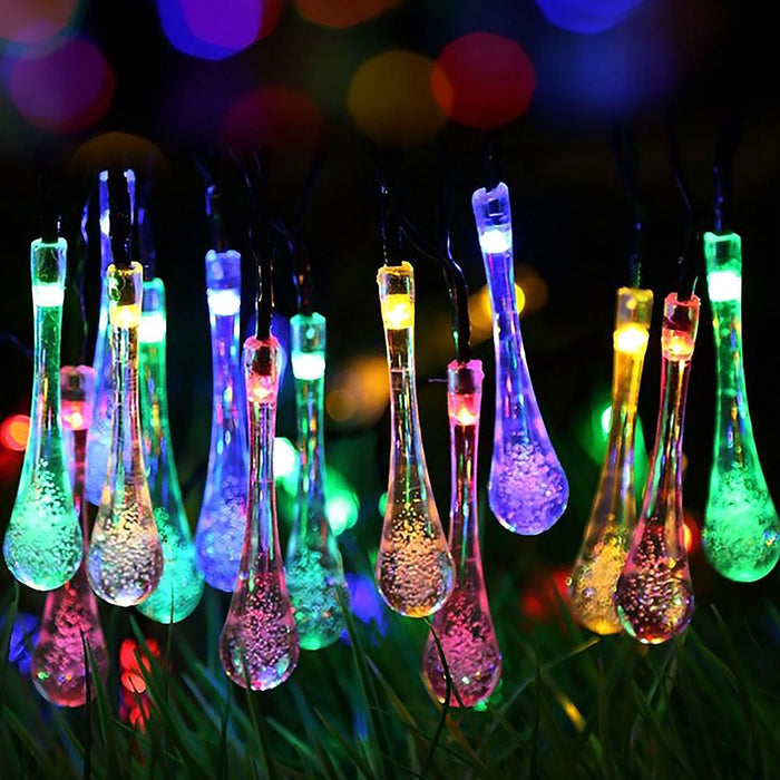 Solar Outdoor String Lights,15.7ft 30LED Water Drop Icicle Ambiance Lighting for Indoor,Bedroom,Patio,Lawn,Landscape,Fairy Garden,Home,Wedding,Holiday,Christmas Tree,Party