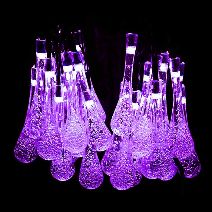 Solar Lights Outdoor, 19.2 Ft 8 Modes 30 Water Drop LED, Halloween String Light for Garden, Fence, Patio, Party and Holiday (Purple)