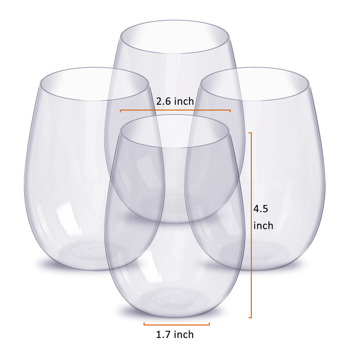 Stemless Wine Glass l Set, 4-Pack, 15 Ounce Wine Tumbler Set