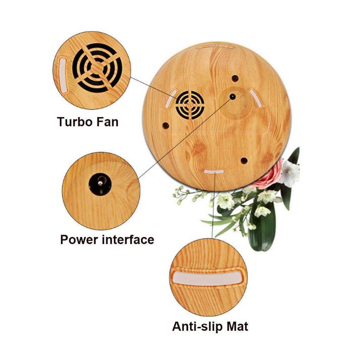 2nd Version Essential Oil Diffuser, 300ml Aroma Wood Grain Ultrasonic Cool Mist Humidifier with Adjustable Mist for Office Home Room Study
