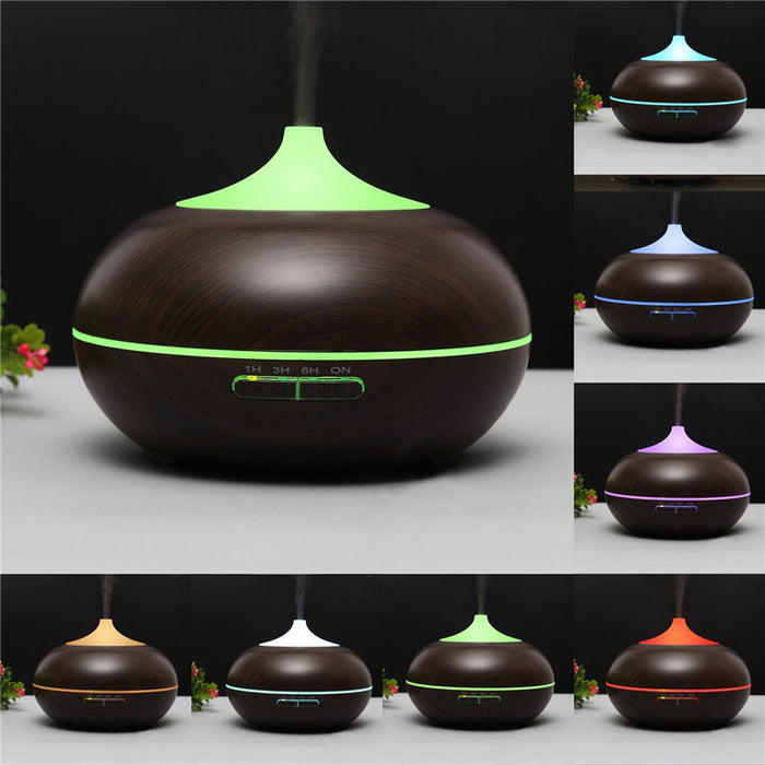 Aromatherapy Essential Oil Diffuser,300ml Aroma Cool Mist Essential Oil Diffuser with Color LED Lights Changing for Baby Office Home Bedroom Living Room Study Yoga Spa (Dark Wood Grain)