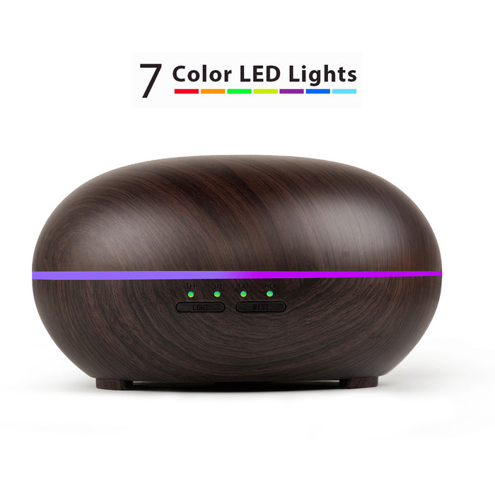 Aromatherapy Essential Oil Diffuser Wood Grain Ultrasonic Cool Mist Diffusers with 7 Color LED Lights Waterless Auto Shut-off, 300mL