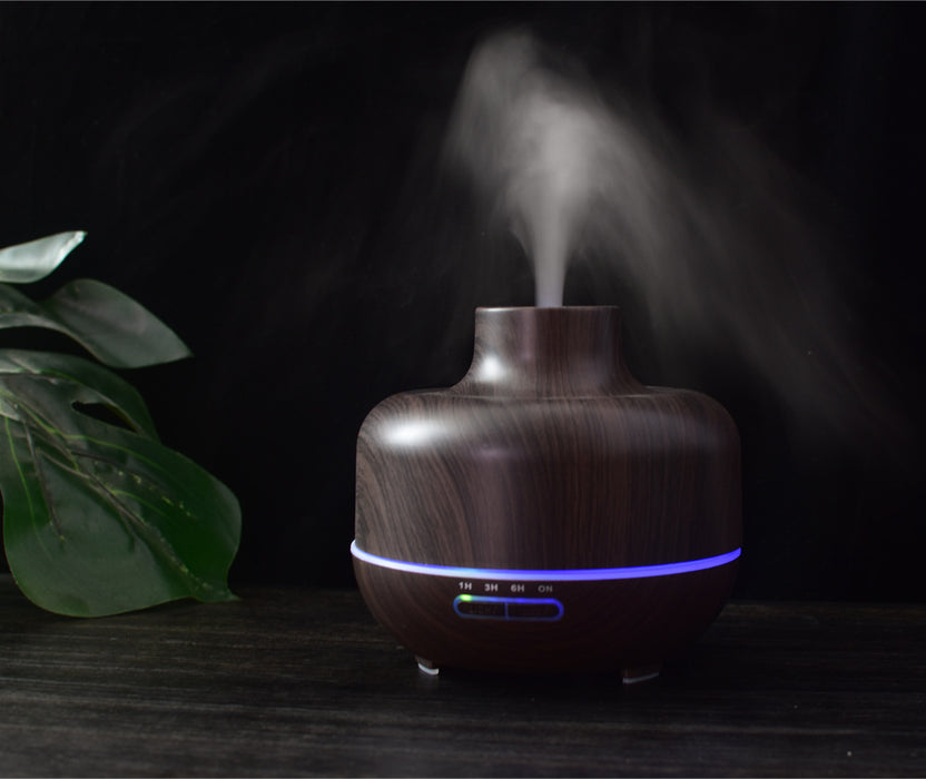 400ml Aromatherapy Ultrasonic Aroma Essential Oil Diffuser for Office Home Room Spa Yoga Baby Wood Fragrance Cool Mist Humidifier Care Health Natural Household Light Purifier Timer Color