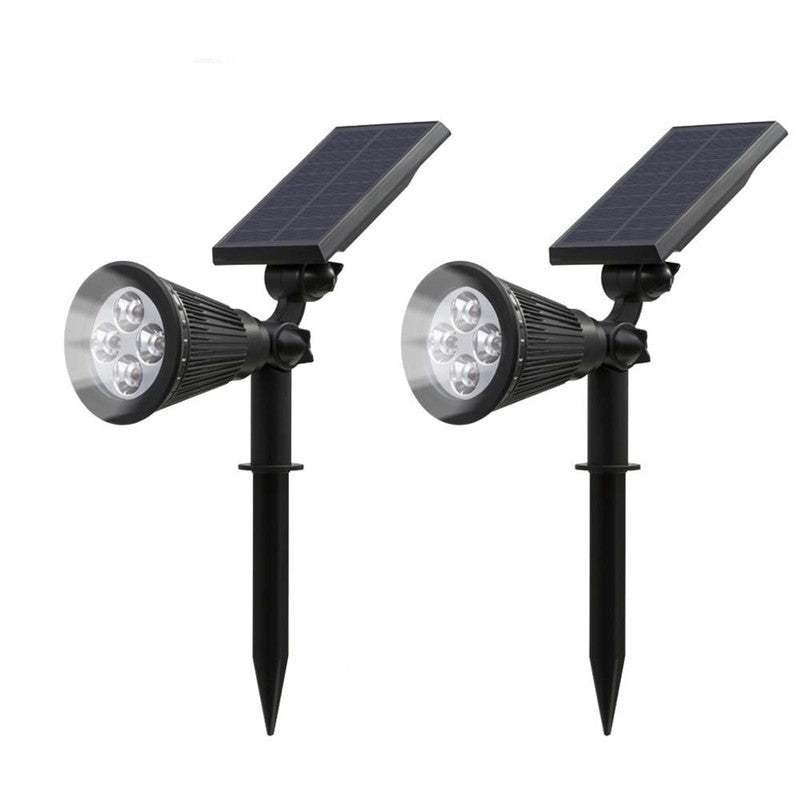 Solar Lights, 2-in-1 Waterproof 4 LED Solar Spotlight Adjustable Wall Light Landscape Light Security Lighting Dark Sensing Auto On/Off for Patio Deck Yard Garden Driveway Pool Area(2 Pack)