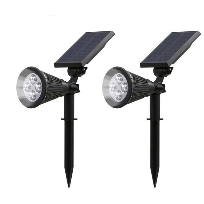 Solar Lights,2-in-1 Waterproof 4 LED Solar Spotlight Adjustable Wall Light Landscape Light Security Lighting Dark Sensing Auto On/Off for Patio Deck Yard Garden Driveway Pool Area(2 Pack)