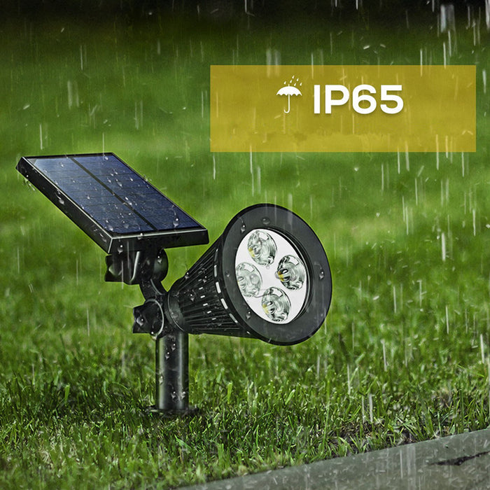 Solar Spotlights,  2-in-1 Adjustable 4 LED Wall / Landscape Solar Lights with Automatic On/Off Sensor, 2 Pack