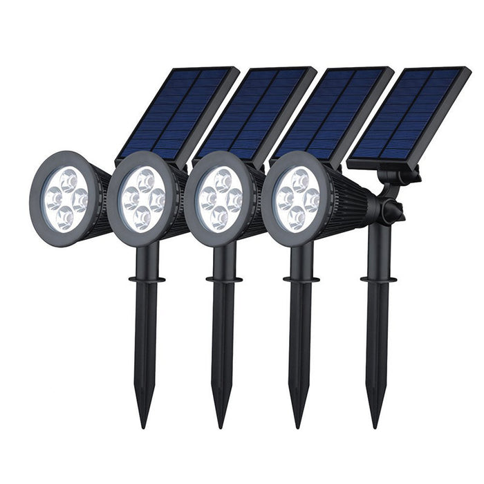4 Pack Solar Spotlights,The Third Generation 2-in-1 Waterproof Adjustable 4 LED Wall / Landscape Solar Lights with Automatic On/Off Sensor for Driveway, Yard, Lawn, Pathway, Garden