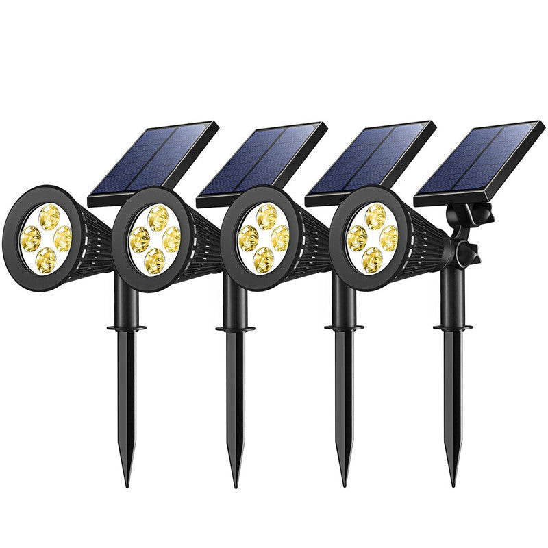 4 Pack Solar Spotlights, 2-in-1 Waterproof Outdoor Adjustable 4 LED Landscape Solar Lights Wall Light for Driveway, Yard, Lawn, Garden,Pathway, Pool-Warm Light