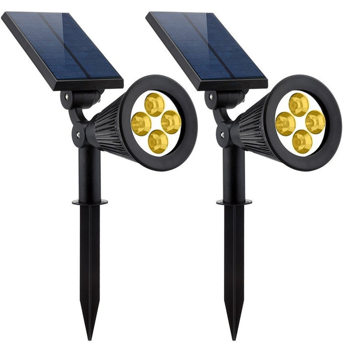Solar Lights 2-in-1 Solar Powered 4 LED Adjustable Spotlight Wall Light Landscape Light Bright and Dark Sensing Auto On/Off Security Night Lights for Patio Yard Driveway Pool - Warm White (2)
