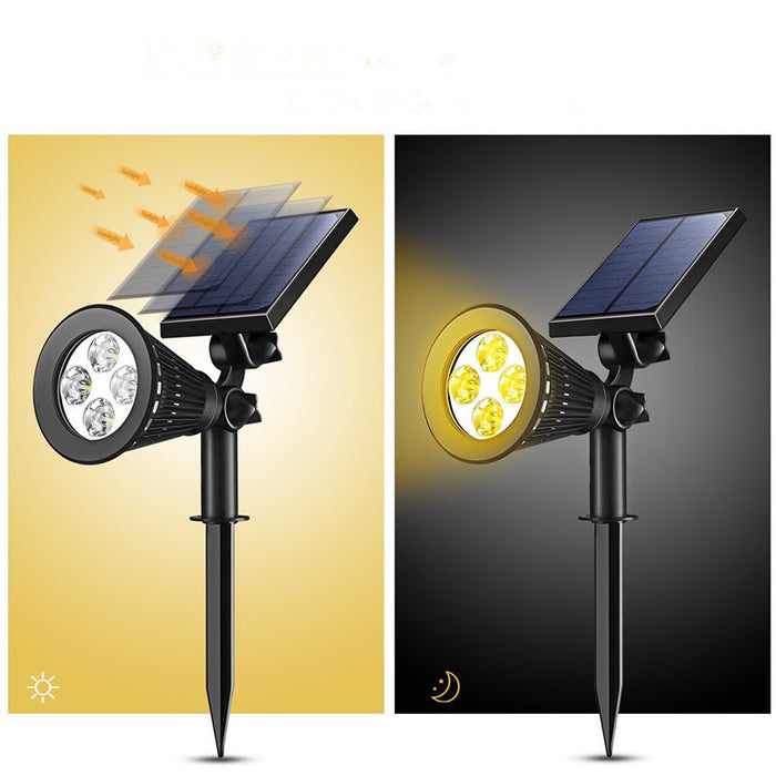 Solar Lights 2-in-1 Solar Powered 4 LED Adjustable Spotlight Wall Light Landscape Light Bright and Dark Sensing Auto On/Off Security Night Lights for Patio Yard Driveway Pool - Warm White
