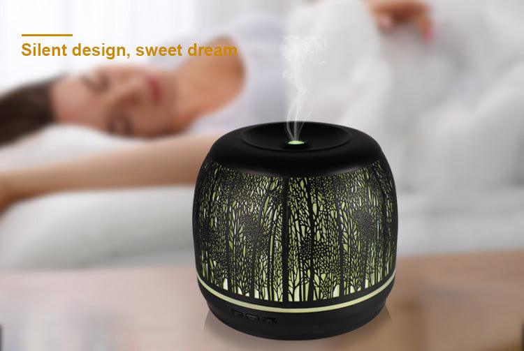 500ML capacity wall mounted metal essential oil diffuser , Ultrasonic Aromatherapy Diffusers with Premium Metal Forest Casing, Cool Mist Humidifiers with 7 Color Changing Night Light & Auto Shut-off