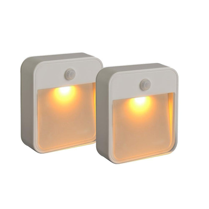 Sleep Friendly Battery-Powered Motion-Sensing LED Stick-Anywhere Nightlight with Amber Color Light (2-Pack), White