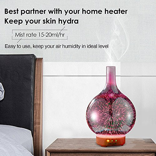 Ultrasonic Aroma Diffuser Cool Mist Essential oil diffuser with BPA Free, Night Mood Led Light, Safe Auto Shut-off and Timer. 100ml Essential Oil Aromatherapy Machine for Large room Premium Gift Yoga Home Office