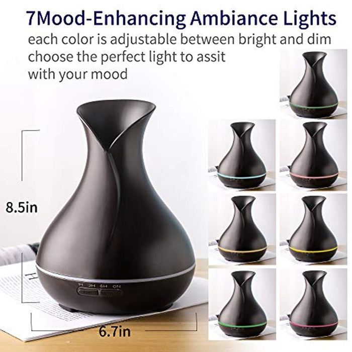 400ml Aromatherapy Diffuser,Ultrasonic Aromatherapy Cold Fog Humidifier for Bedroom and Babies,Auto Shutoff, Essential Oil Diffuser Easy To Clean, Various Led Lights