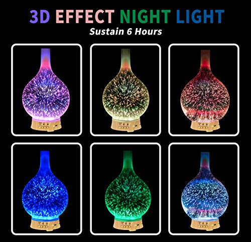 100ml 3D Aromatherapy Essential Oil Diffuser, Cool Mist Humidifier with Changing Starburst LED lights, Lead Free Glass, Wood Base, Waterless Shut Off