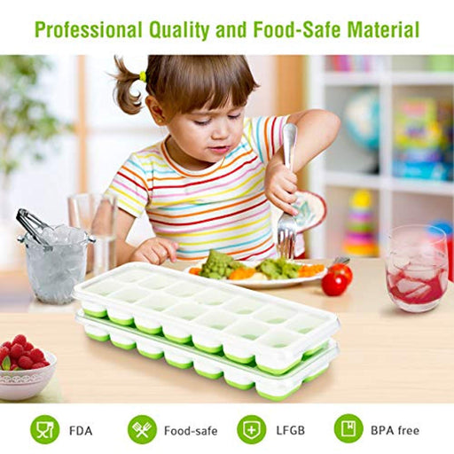 4 Packs Ice Cube Tray, LFGB Certified BPA Free Ice Moulds with Non-Spill Lid, Best Ice Moulds for Freezer, Baby Food, Water, Cocktail and Other Drink