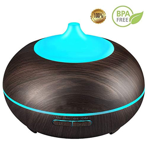 Essential Oil Diffuser,  300ml Cool Mist Ultrasonic Aroma Diffuser, Cool Air Diffuser Wood Grain Humidifier with Waterless Automatically Shut-Off for Office Home Yoga Spa-Black