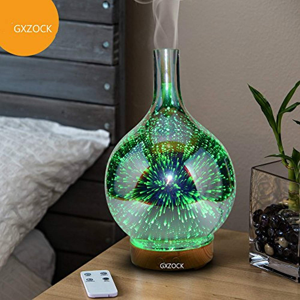 100ml 3D Essential Oil Diffuser Ultrasonic Aroma Aromatherapy Diffusers with 7 Changeable Colored LED Lights, Adjustable Mist Mode and Waterless Automatically Shut-Off for Home