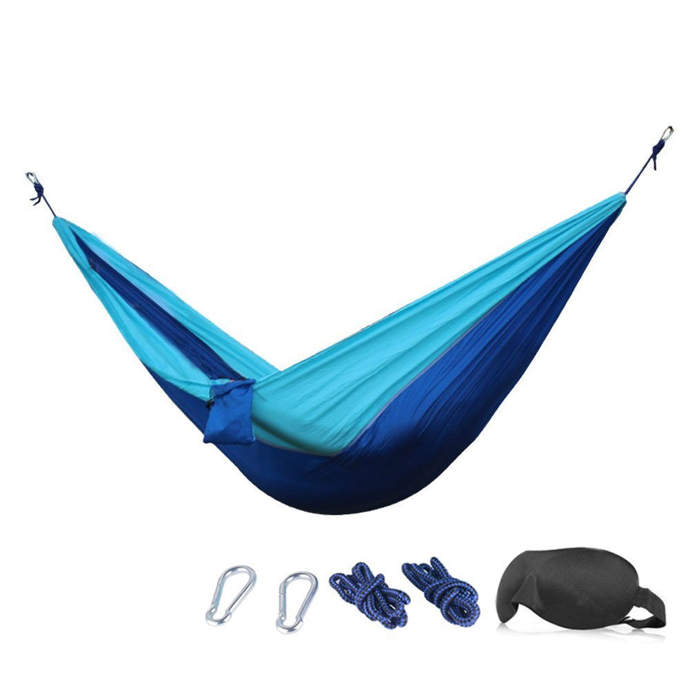 Camping Hammock - 210T Parachute Nylon Portable Heavy-Duty Camp Hammocks - Bundled with 3D Eye Mask,Ropes, Carabiners