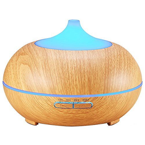 Aromatherapy Essential Oil Diffuser, 300ml Wood Grain Cool Mist Ultrasonic Humidifier with 4 Timer Settings, 10 Hours Continuous Mist, Waterless Auto Shut-Off, 7 Color LED Lights for Office Home