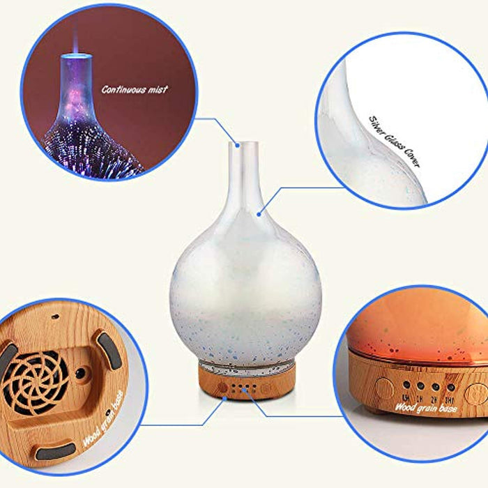 Essential Oil Diffuser 3D Glass Aromatherapy Ultrasonic Humidifier - 7 Color Changing LEDs, Waterless Auto-Off,Timer Setting, BPA Free (100ml Aladdin)