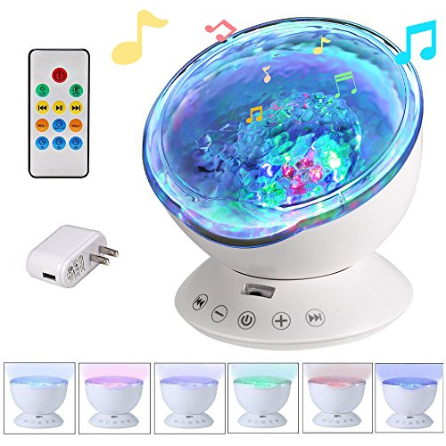 Remote Control Ocean Wave Projector 12 LED &7 Colors Night Light with Built-in Mini Music Player for Living Room and Bedroom (12 LED Black)