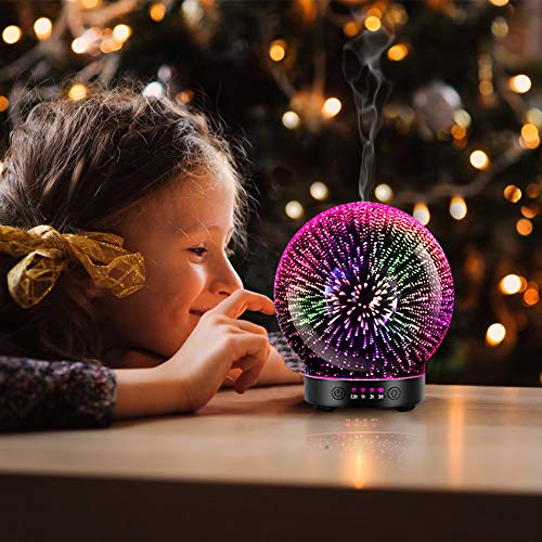 3D Aromatherapy Essential Oil Diffuser – Newest Version fragrance oil Humidifier, 7 LED Color lighting modes including firework theme, Premium Ultrasonic mist, Auto-Off Safety Switch, Car Vent Clip