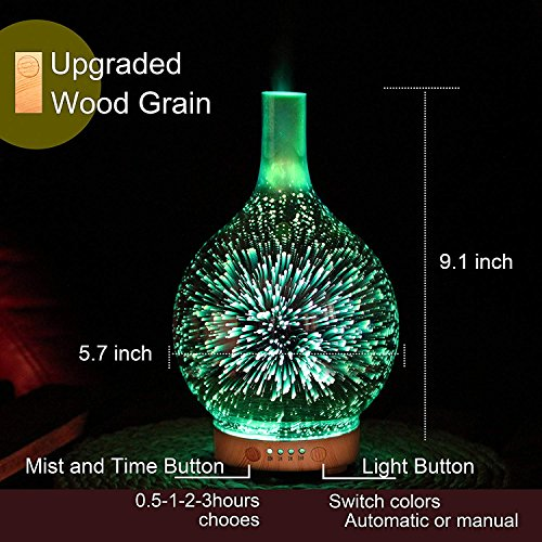 Essential Oil Diffuser Night Light 3D Effect Cool Mist Humidifier Ultrasonic Aromatherapy Diffuser with 14 Color Changing LEDs,Waterless Auto-off for Home,Office,Yoga,Baby,Sleep