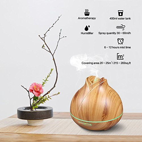 Aroma Essential Oil Diffuser, 400ml Electric Ultrasonic Cool Mist Humidifier Aromatherapy Diffusers, Air Purifier with 7 Colour LED Lights, Waterless Auto Shut-Off, Super Quiet for Home Yoga