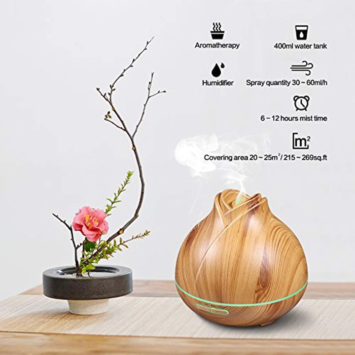 Aroma Essential Oil Diffuser, 400ml Ultrasonic Cool Mist Humidifier with 7 Color LED Lights, 2 Adjustable Mist Mode, Waterless Auto Shut-Off for Home Yoga Office Spa Baby Room, Wood Grain