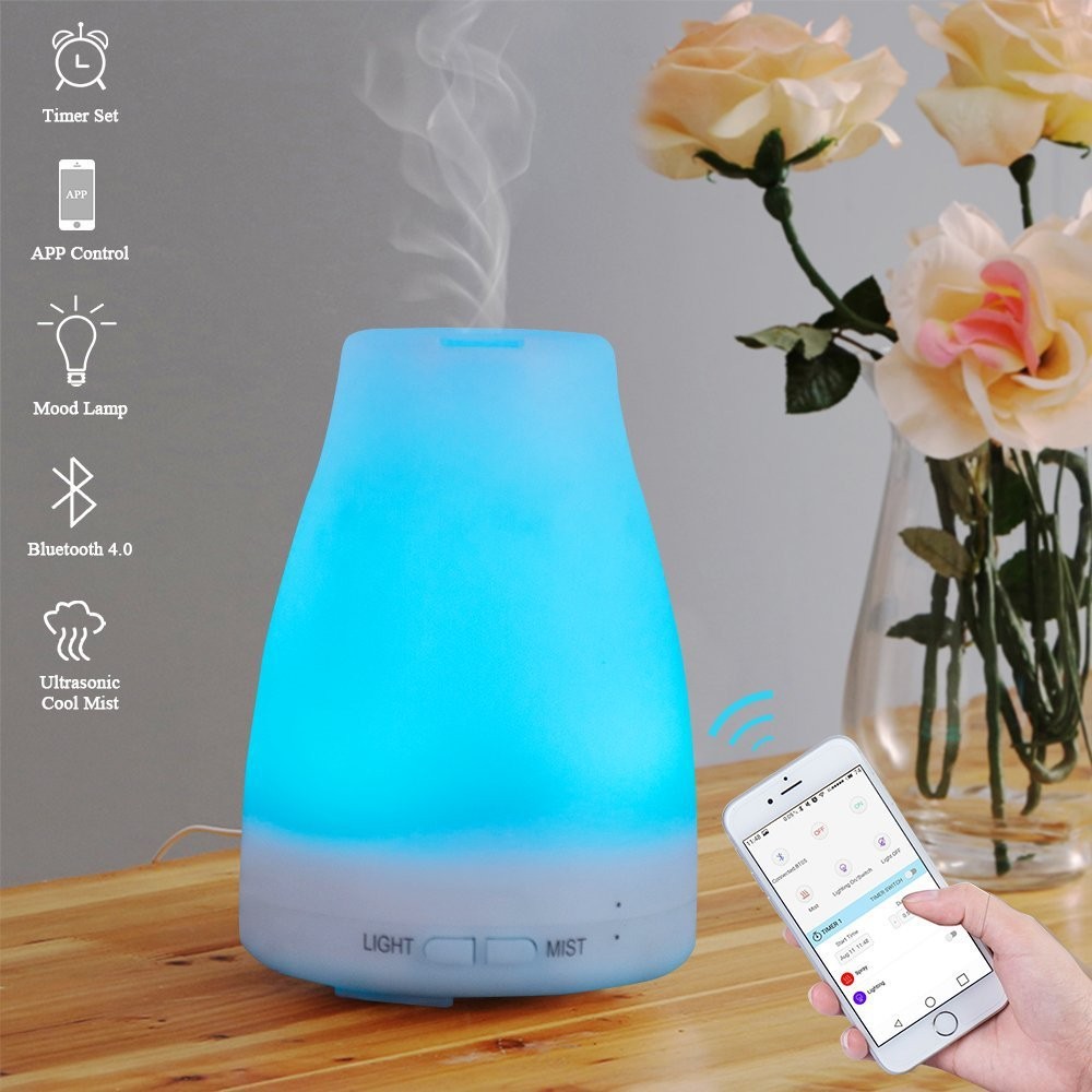 Version Essential Oil Diffuser Aroma Essential Oil Cool Mist Humidifier with Adjustable Mist Mode,Waterless Auto Shut-off and 7 Color LED Lights Changing for Home Office Baby