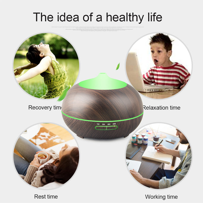 Aromatherapy Oil Diffuser, Cool Mist Ultrasonic Aroma Essential Oils Humidifier and Purifier Whisper Quiet Waterless Automatic Power off –Wood Grain,400ML