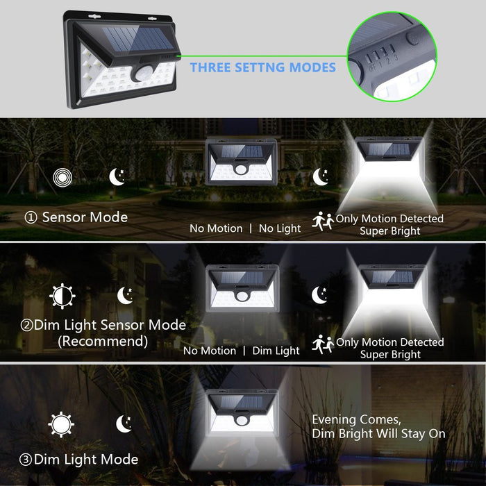 Upgraded Solar Lights 30 LED Wall Light Outdoor Security Lighting Nightlight with Motion Sensor Detector for Garden Back Door Step Stair Fence Deck Yard Driveway, Pack of 2