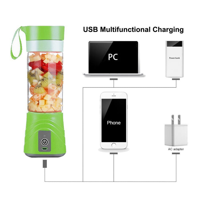 USB Juicer Cup-Portable Rechargeable Blender and Mixer Personal Size Electric Fruit Mixing Machine,Mini Smoothie Maker,Water Bottle 380ML(Green)
