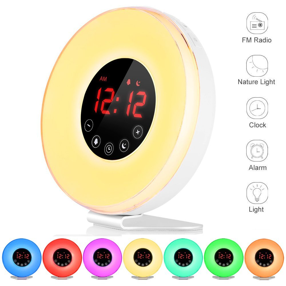 Alarm Clock  Deluxe Edition Wake Up Light Digital Alarm Clock with 7 Sounds Sunrise & Sunset Simulation 7 Colors Night Light with Snooze Function, FM Radio, Touch Control and USB Charger