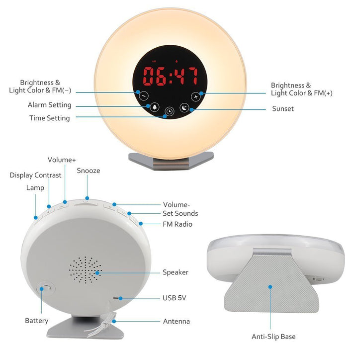 Wake Up Light Alarm Clock -  New Design) Sunrise Simulation Alarm Clock with Snooze/Sunset Function, Nature Sounds, FM Radio, 7 colors Changing, Touch Control Alarm Clock radio (White)