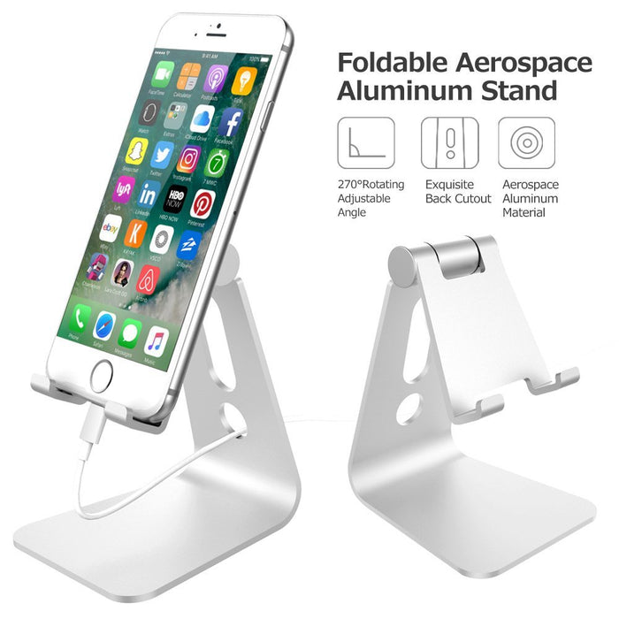 Adjustable Cell Phone Stand, iPhone Stand : [UPDATE VERSION] Cradle, Dock, Holder For Switch, iPhone 8 X 7 6 6s Plus 5 5s 5c charging, Accessories Desk, all Android Smartphone - Silver