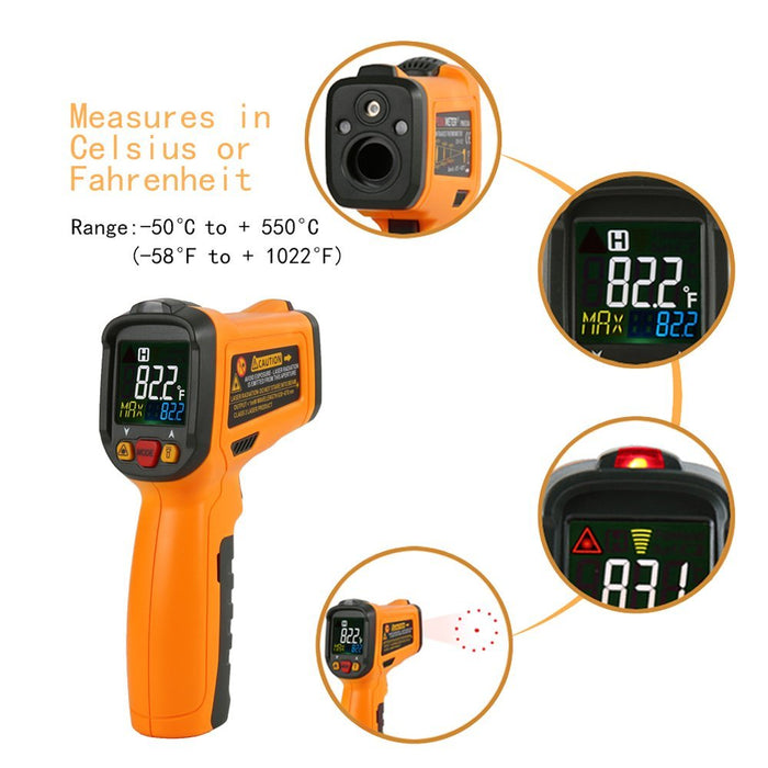 Infrared thermometer PM6530B Laser Temperature Gun Digital Non Contact Kitchen Thermometer Color Display -58°F~1022°F With 12 Point Aperture Temperature Alarm Function