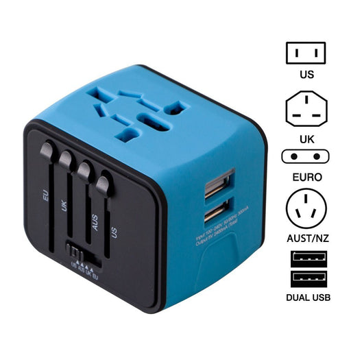 Universal World Travel Adapter with Dual USB Ports for UK, US, AU, Europe-Over 150+ International Countries Dual USB Power Adapter for iPhone, Android, ipad, Cameras etc