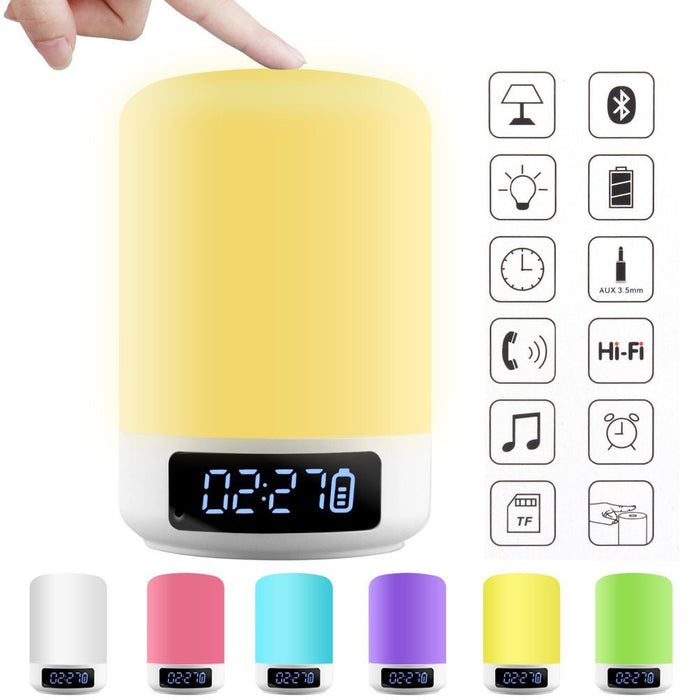 LED Bedside Lamp Smart Touch Wireless Bluetooth Speaker Dimmable Color Night Light 4 Level Brightness 6 Colors Changing Mood Music Player TF Card AUX Supported Hands-free Calls Alarm Clock