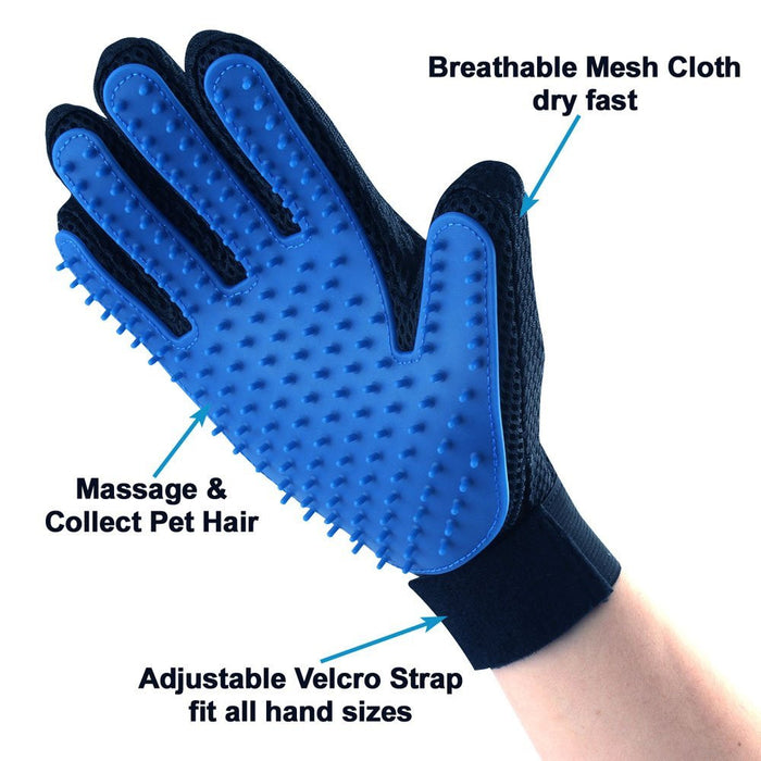 Pet Grooming Glove - Gentle Deshedding Brush Glove - Efficient Pet Hair Remover Mitt - Massage Tool with Enhanced Five Finger Design - Perfect for Dogs & Cats with Long & Short Fur