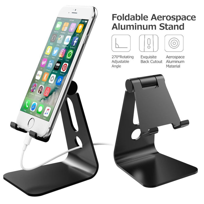 Desktop Cell Phone Stand Tablet Stand, Advanced 4mm Thickness Aluminum Stand Holder for Mobile Phone (All Size) and Tablet (Up to 10.1 inch)