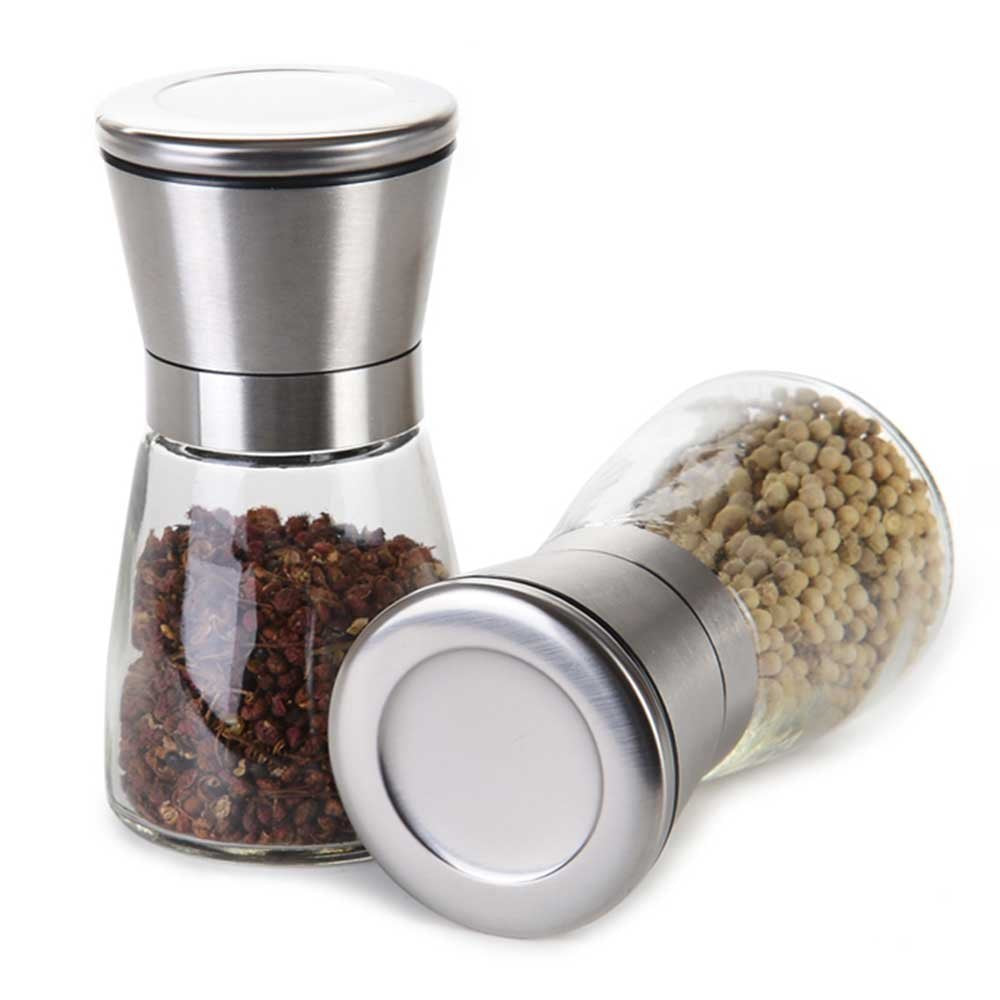 Premium Brushed Stainless Steel Salt & Pepper Grinder with Adjustable Coarseness, Set of 2