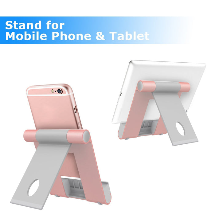 Aluminum Alloy Phone Holder, Portable Foldable Adjustable Cell Phone Stand with Silica Gel Protective for Most Smartphones and Tablet