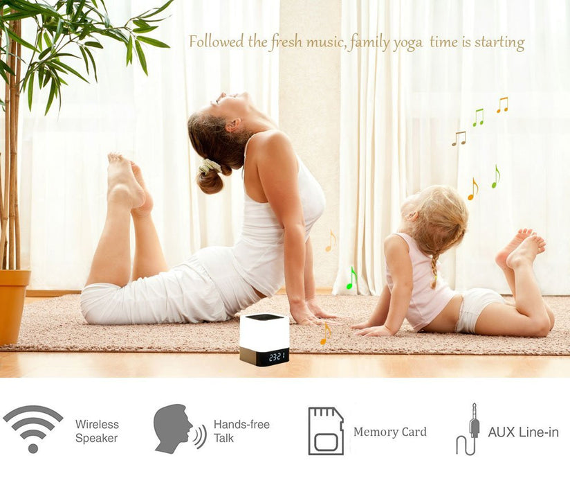 Night Light Bluetooth Speakers,All in 1 Touch Sensor Bedside Lamp/MP3 Music Player/Alarm Clock For kids and Adult,Party,Bedroom,Reading,Outdoor
