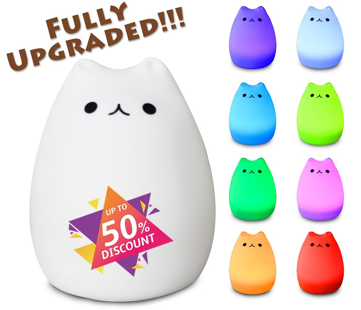 night light - 3-Modes Portable Silicone LED Night Lamp - 8 single colors mode and 8-color breathing light mode - adorable animals' appearance - USB charging - best nightlight for baby