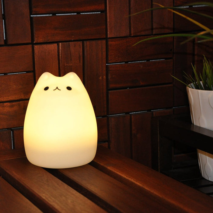 Cat LED Baby Kids Night Light, Cute Multicolor Silicone Soft Kitty Nursery Lamp for Children Toddler Boys Girls, Tap Control, White & 7-Color Breathing 2 Light Modes, 12H Portable Use